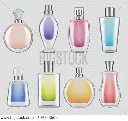 Perfumes Bottles. Realistic Luxury Good Smell For Female In Glass Bottles Decent Vector Mockup Colle