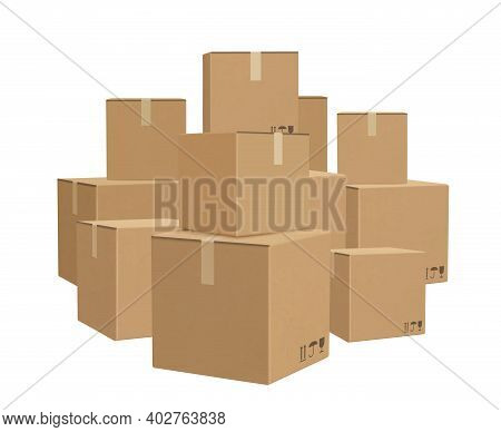 Warehouse Boxed. Cardboard Parcel Packages Piles For Delivery Big Lots Boxed Decent Vector Backgroun