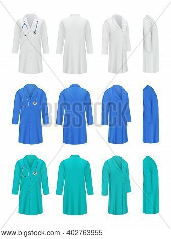 Colored Doctor Coats. Professional Fashioned Uniform For Medical Specialists Workwear Jacket Nurse D
