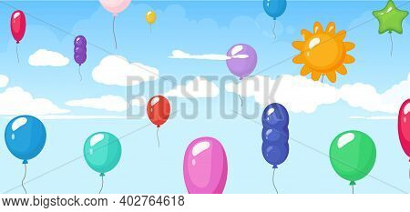 Colorful Balloon, Festival Birthday Graduating Vector Background. Helium Balloon Fly, Festival Celeb