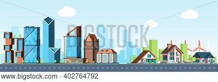 Megapolis Vs Village. Urban Landscape, Downtown And Suburb Real Estate Vector Background. Village An