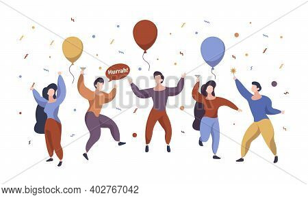 Celebration People. Happy Characters Group Celebration Party Standing Jumping With Gift Confetti And