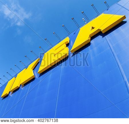 Samara, Russia - April 19, 2014: Ikea Logo On The Wall Of Building. Ikea Is The World's Largest Furn