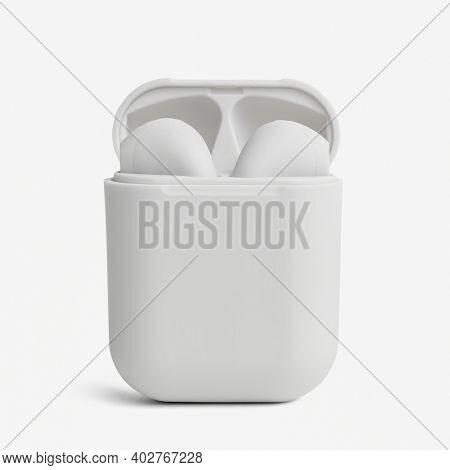 White wireless earbuds case mockup digital earphones