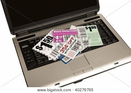 A Laptop With Coupons Represents Online Coupons XXXL