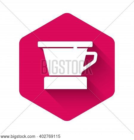 White V60 Coffee Maker Icon Isolated With Long Shadow. Pink Hexagon Button. Vector