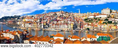 panorama of beautiful Porto town, Portugal travel and landmarks