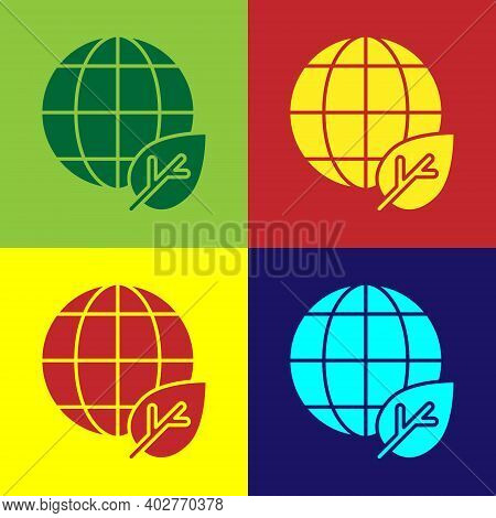 Pop Art Earth Globe And Leaf Icon Isolated On Color Background. World Or Earth Sign. Geometric Shape