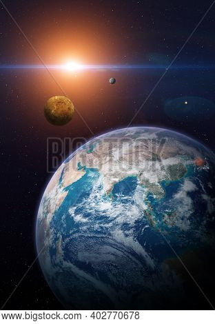 View Of The Planet Earth From Space. Solar System Planets: Earth, Venus, Mercury. Terrestrial Planet