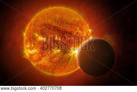 View Of The Planet Mercury And Sun From Space. Mercury - Solar System Planet. Terrestrial Planets. S