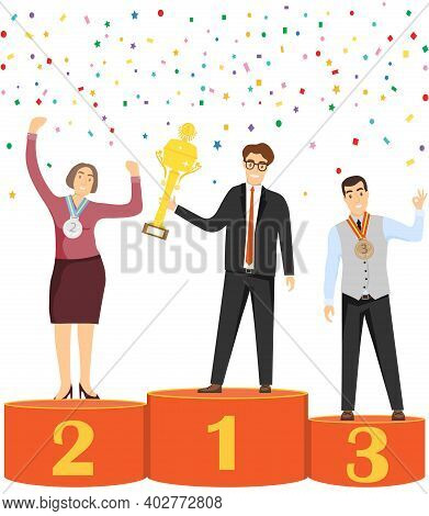 People Are Winners. People Stand On The Podium With Awards And Trophies. Vector Illustration. Vector