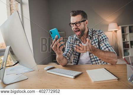 Photo Of Young Business Man Boss Angry Mad Scream Shout Cellphone Problem Trouble Distance Work Home