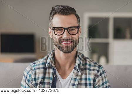 Photo Of Young Handsome Cheerful Stubble Man Happy Positive Smile Confident Wear Casual Outfit Indoo