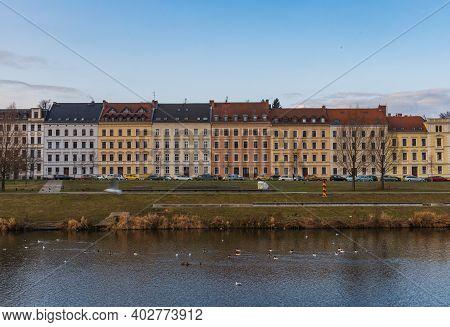 Zgorzelec Gorlitz January 27 2020 Line Of High Old Tenement Houses Near River