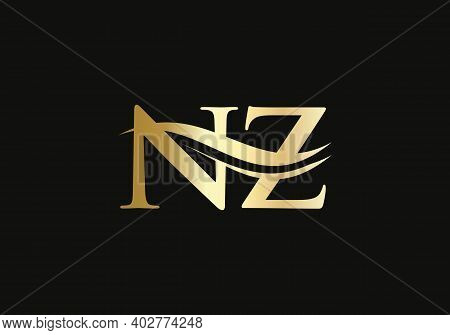 Nz Logo Design For Business And Company Identity. Creative Nz Letter With Luxury Concept.