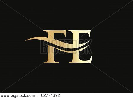 Initial Fe Letter Linked Logo Vector Template. Swoosh Letter Fe Logo Design. F E Logo Design With Mo