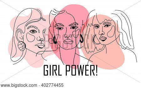 Girl Power, Empowered Women, International Feminism Ideas Poster Concept. Linear Trend Illustration