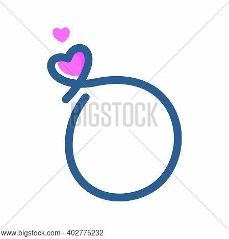 Simple And Clean Illustration Logo Initial Mono Line O With Heart.