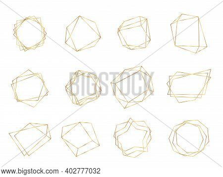 Gold Polygonal Frames. Triangle Line Shape, Polygon Style Crystal Art Decorations. Silver Golden Geo