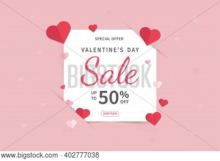 Valentine's Day Sales Banner Template. Valentine's Day Design With Red Paper Hearts. Design For Post