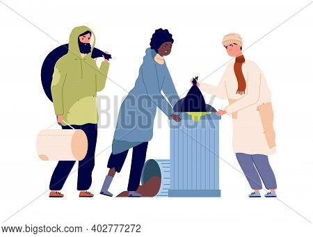 Poor People In Trash Can. Refugee Problems, Man Woman Find Food Or Clothes. Homeless Vector Characte