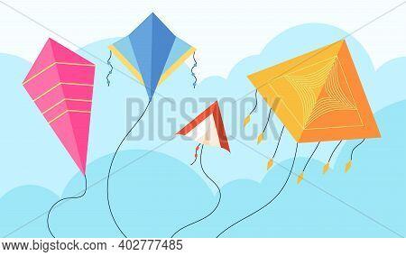 Kites In Sky. Fun Fly Kite, Child Toy Flying Wind. Kiting, Makar Sankranti Pongal Festival Concept.