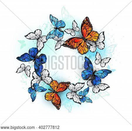 Flying In Circle Orange Monarch, White And Detailed Blue Morpho Butterflies On White Background. But