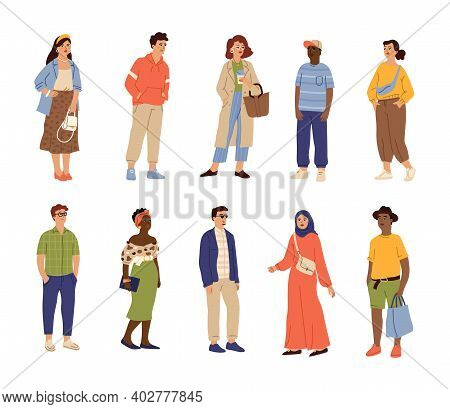 International Fashion Characters. Adults Person, Working Teenagers Together. Isolated Young People,
