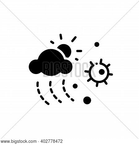 Virus Spread With Weather Glyph Icon. Disease Spreading And Air Pollution Concept. Droplet Spread In
