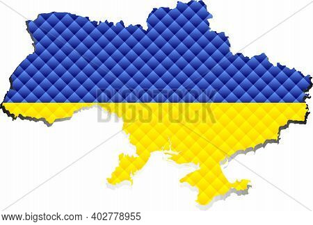 Mosaic Map Of The Ukraine - Illustration,  Three Dimensional Map Of Ukraine