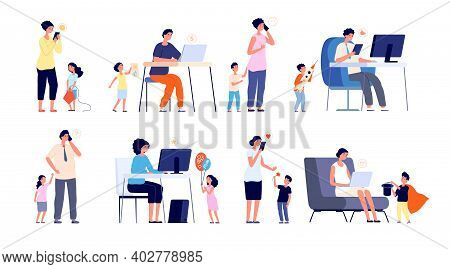 Parents With Gadgets. Social Network Addiction, Work From Home And Stress. Children And Busy Mother