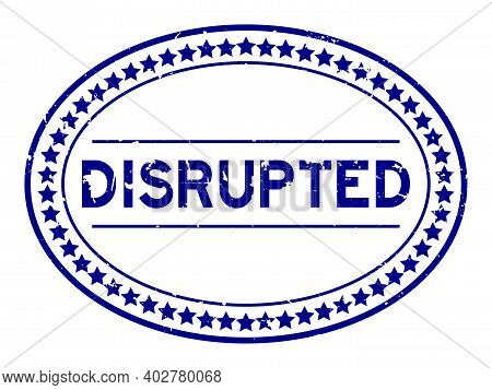 Grunge Blue Disrupted Word Oval Rubber Seal Stamp On White Background