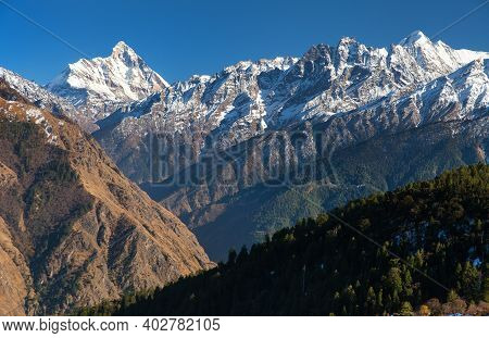 Mount Nanda Devi, One Of The Best Mounts In Indian Himalaya, Seen From Joshimath Auli,  Uttarakhand,