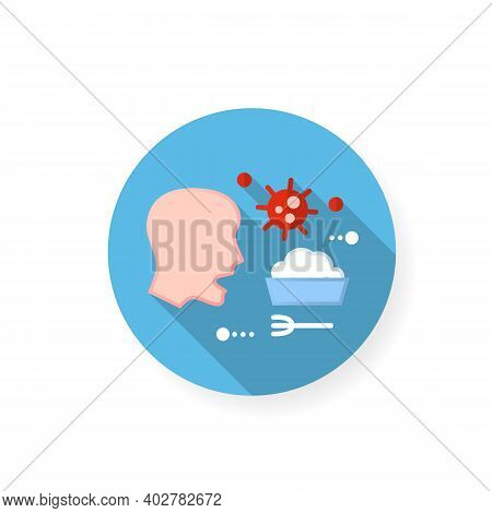 Food Infection Flat Icon. Disease Spreading Concept. Covid19, Gastronomic Bacterial Infection, Rotav