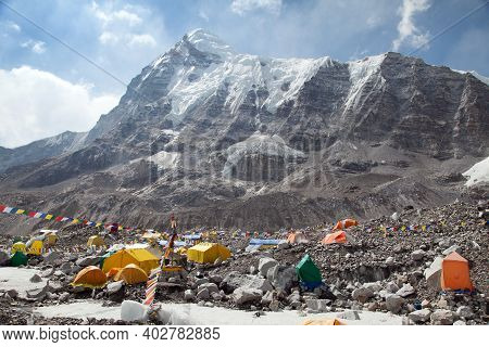 View From Mount Everest Base Camp, Tents, Prayer Flags And Mount Pumori, Sagarmatha National Park, K