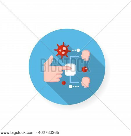 Infection Through Surface Flat Icon. Disease Spreading Concept. Covid19, Virus Disease, Influenza Tr