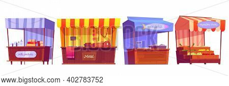 Food Market Stalls With Fruits, Vegetables, Milk, Meat And Fish On Counter And In Crates. Vector Car