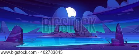 Sea Beach And Small Island In Water With Rocks At Night. Vector Cartoon Landscape Of Ocean Or Lake C