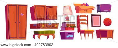 Old Furniture, Archive Items On House Attic Or In Storage Room. Vector Cartoon Set Of Vintage Chair,