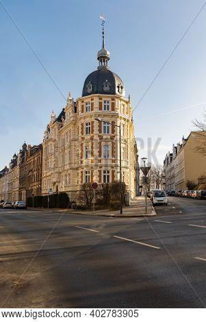 Zgorzelec Gorlitz January 27 2020 High Round Tenement Building At Corner Of Roads