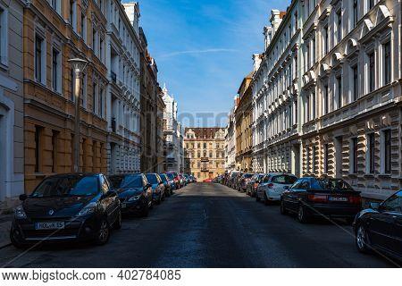 Zgorzelec Gorlitz January 27 2020 Long Straight Street Between Old Tenement Houses At Sunny Day