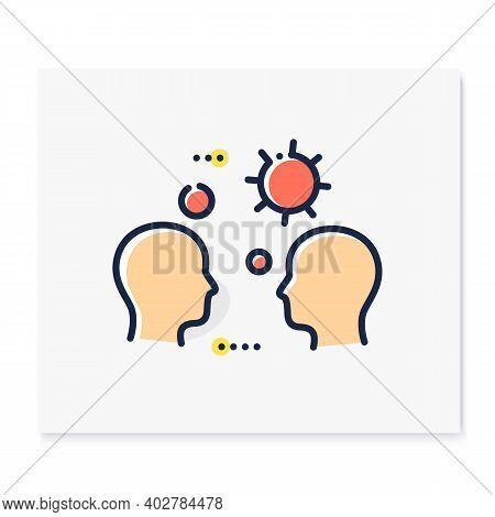 Close Contact Spread Color Icon. Disease Spreading Concept. Covid19, Virus Disease, Influenza Airbor