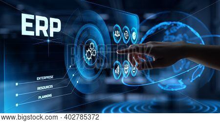 Erp Enterprise Resources Planning Software System Business Process Automation Concept. Hand Pressing