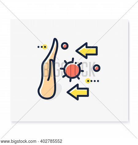 Disease Spread Stop Color Icon. Spreading Prevention Concept. Covid19, Virus Disease, Influenza Or F