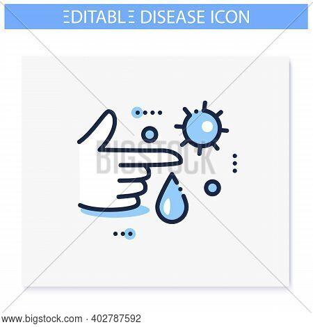 Infection Through Blood Line Icon. Disease Spreading Concept. Covid19, Virus Disease, Influenza Tran