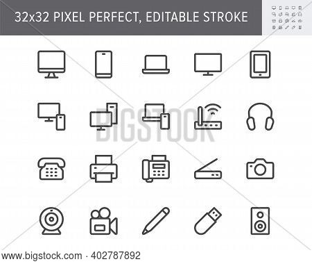 Computer Devices Simple Line Icons. Vector Illustration With Minimal Icon - Laptop, Pc, Smartphone,