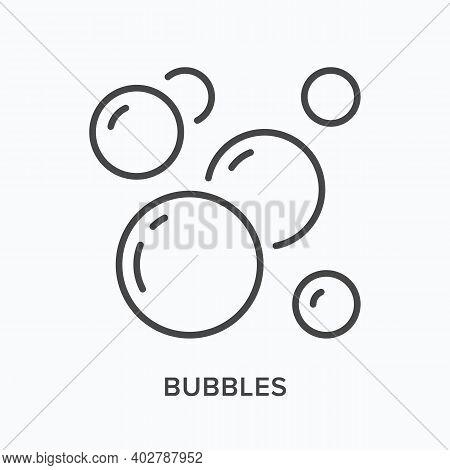 Bubbles Flat Line Icon. Vector Outline Illustration Of Soap Fizz. Oxygen Black Thin Linear Pictogram