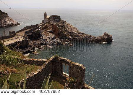 Portovenere ( Sp ), Italy - April 15, 2017: San Pietro Church, Portovenere, Gulf Of Poets, Cinque Te