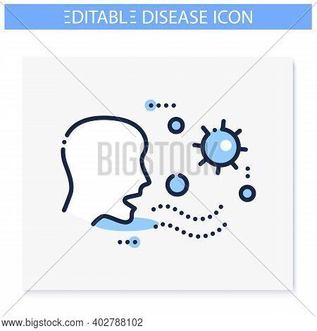 Airborne Spread Line Icon. Disease Spreading Concept. Covid19, Virus Disease, Influenza Or Flu Trans
