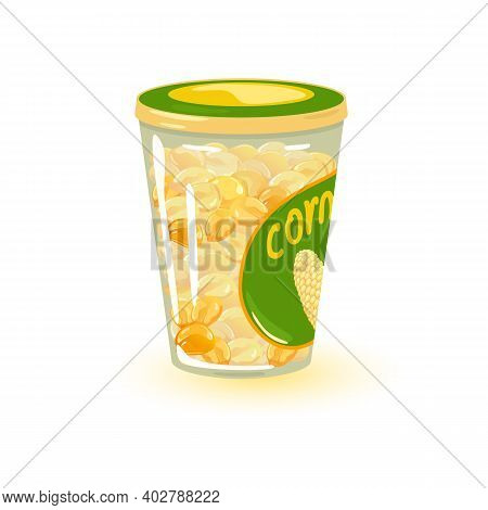 Maize Grains With Juice In Container, Store For Cold Season. Vector Organic Product Package, Eco Far